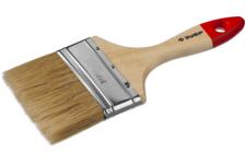 Кисть плоская ЗУБР УНИВЕРСАЛ - МАСТЕР 100 мм, светлая натуральная щетина, деревянная ручка