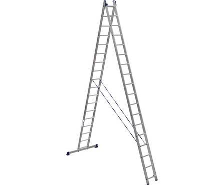 Лестница алюм. 2-х секц.18 ступеней HS2 6218 (высота 507/927 см, вес 21,80 кг)