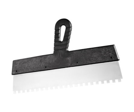 Шпатель СИБРТЕХ зубчатый 250 мм нержавеющая сталь с пластиковой ручкой зуб 10*10 мм Фотография_0