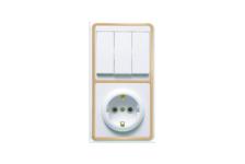 Блок комбинированный КЭ Белла выключатель с розеткой с/з (белый/золото)