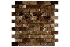 Мозаика Caramelle Mosaic Pietrine Emperador Dark полированная, 298х298х4 мм, чип 23х48 мм