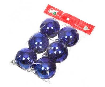 Набор шаров SY16-03 синие блестящие, диаметр 6 см (6 шт) Фотография_0