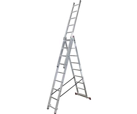 Лестница ВИХРЬ ЛА 3*9 алюминиевая 3-х секционная, 9 ступеней Фотография_0