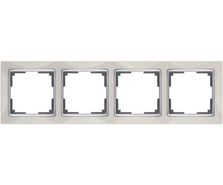 Рамка 4 Поста Универсальная Слоновая Кость-Серебро Snabb Werkel Фотография_0