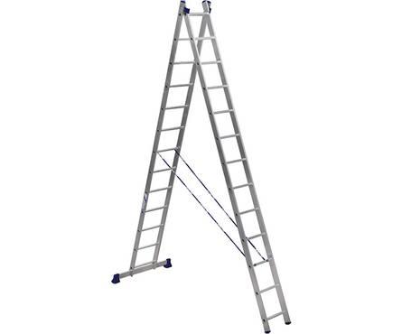 Лестница алюм. 2-х секц.13 ступеней H2 5213 (высота 366/618 см, вес 12,50 кг)