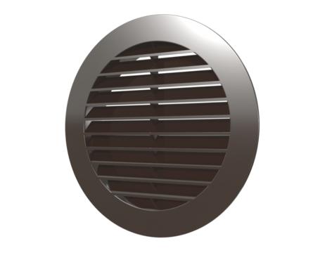 Решетка наружная приточно-вытяжная круглая D150 с фланцем D125 коричневая