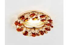 Светильник точечный Ambrella K206 TI/G золото/янтарный хрусталь MR16
