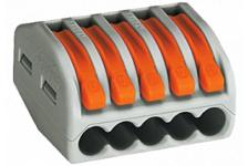 Строительно-монтажная клемма СМК, с рычагом, 5 отверстий, 0.08-2,5мм (уп. 100 шт.)