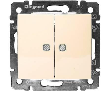 Выключатель LEGRAND VALENA 2кл в рамку с/подсв.бежевый Фотография_0