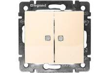 Выключатель LEGRAND VALENA 2кл в рамку с/подсв.бежевый