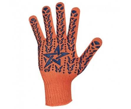 Перчатки трикотажные Долони Звезда Оранжевые с ПВХ-рисунком 7 класс Фотография_0