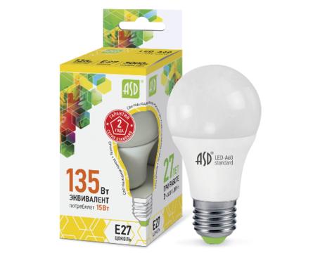 Лампа светодиодная LED-А60-standard 15Вт 160-260В Е27 4000К 1350Лм ASD Фотография_0