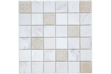 Мозаика Caramelle Mosaic Art Stone Dolomiti Bianco матовая, 300х300х8 мм, чип 48х48 мм