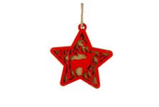 Елочное украшение Звезда с оленем дерево 11х11.7 см