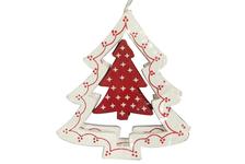 Елочное украшение Звезда/сердце 9 см, бело-красное, дерево, 2 шт