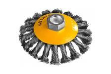 Щетка коническая для УШМ, жгутированная стальная проволока 0,5мм, 100ммхМ14 STAYER PROFESSIONAL