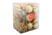 Набор украшений Зимнее волшебство Новогоднее веселье с бусами и мишурой, золотой