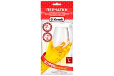 Перчатки хозяйственные Komfi латексные, для деликатной уборки, с х/б напылением, L, желтые