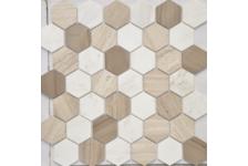 Мозаика Caramelle Mosaic Pietrine Hexagonal Pietra Mix 3 MAT hex матовая, 292х298 мм, чип 18х30 мм