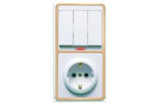 Блок БКВР-054 Кунцево-Электро (выключатель 3 клавиши с подсветкой +розетка с/з) белый/золото