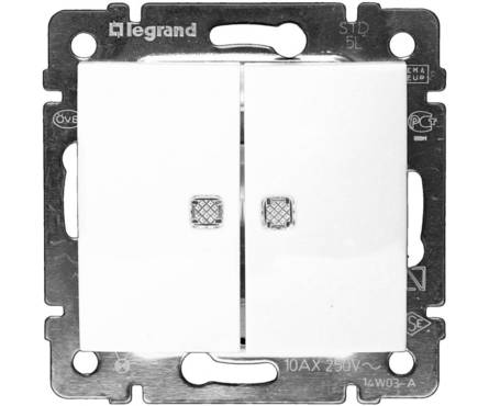 Выключатель LEGRAND VALENA 2кл в рамку с/подсв.белый Фотография_0