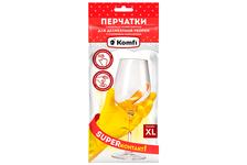 Перчатки хозяйственные Komfi латексные, для деликатной уборки, с х/б напылением, XL, желтые