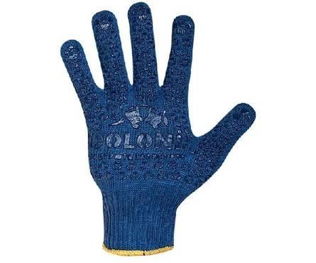Перчатки трикотажные Долони Универсальные синие с ПВХ рисунком 10 класс  Фотография_0
