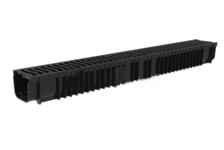 Лоток пластиковый Steelot SteePlain DN100 H100 в комплекте с пластиковой решеткой, класс А15