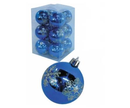 Набор шаров Снежинки, синий, матовый, диаметр 6 см (12 шт) Фотография_0
