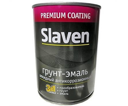 Грунт- эмаль  по ржавчине вишневый Slaven 3,2кг