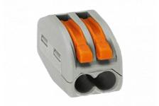 Строительно-монтажная клемма СМК, с рычагом, 2 отверстия, 0.08-2,5мм (уп. 100 шт.)