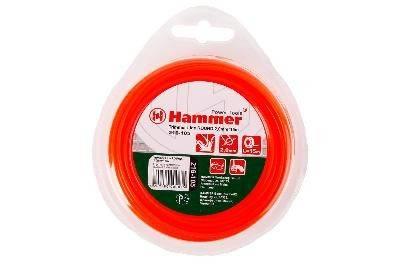 Леска триммерная Hammer Flex 216-105 TL ROUND 2.0мм*15м  круглая, цвет - красный Фотография_0