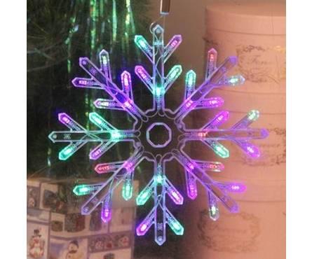 Фигура Снежинка свечение мультиколор, диаметр 30 см, пластик, 50 LED, 220V, контрол. 8 режимов Фотография_0