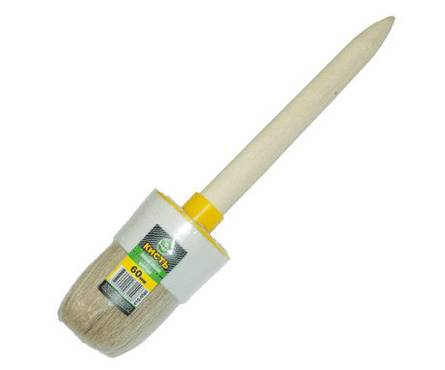 Кисть круглая КЕДР 70 мм, натуральная светлая щетина, деревянная ручка Фотография_0