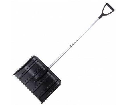 Лопата снеговая пластмассовая Метелица 490*370 мм с металлической накладкой, алюминиевый черенок, V-ручка Фотография_0