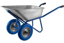 Тачка строительная ЗУБР ПТ-300 двухколесная, полиуретановые колеса, 110 л, 240 кг