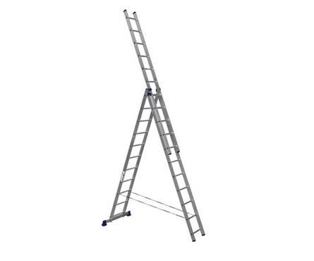 Лестница алюм. 3-х секц.11 ступеней H3 5311 (высота 310/504/702 см, вес 16,1 кг)