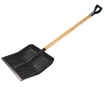 Лопата для снега USP 428*490 мм, деревянный черенок, диаметр 32 мм, с ручкой Фотография_0