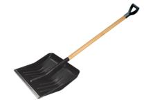 Лопата для снега USP 428*490 мм, деревянный черенок, диаметр 32 мм, с ручкой