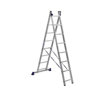 Лестница алюм. 2-х секц. 8 ступеней H2 5208 (высота 224/364 см, вес 7,2 кг)