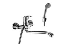 Смеситель для ванны ROSSINKA A35-34, шар d35, S-нос 350 мм, керамическое переключение, хром
