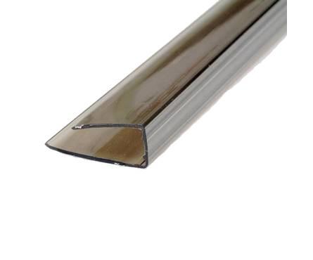 Профиль поликарбонатный  ROYALPLAST UP торцовый, 8 мм, бронза, 2,1 м Фотография_0