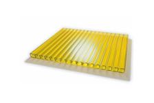 Поликарбонат сотовый Кристалл 6000 / 2100 /4 мм, желтый