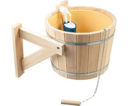Русский душ на 14л, кедр, обливное устройство c пластиковой вставкой и наливным клапаном в коробке Банные штучки