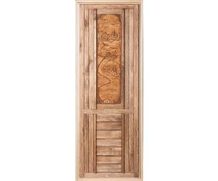 Дверь Банные штучки с резной объёмной вставкой 1,9х0,7м Фотография_0
