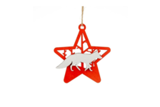 Елочное украшение Звезда с лисой дерево 11х11.7 см