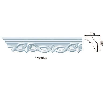 Плинтус потолочный 1,3м Инжекционный Лагом 13024, для натяжного потолка Фотография_0
