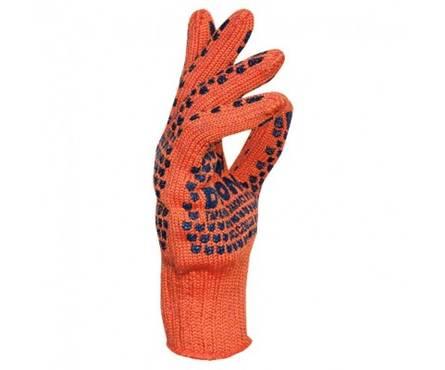 Перчатки трикотажные Долони Стандарт оранжевые с 2-х сторонним ПВХ рисунком 7 класс  Фотография_0