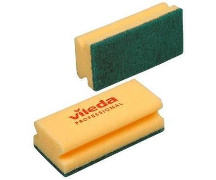 Губка Виледа 9,5х7см, желтая (зеленый абразив)