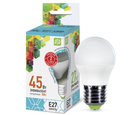 Лампа светодиодная ASD LED-ШАР-standard 5.0Вт 160-260В Е27 4000К Фотография_0